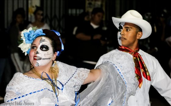 Folklorico Dancers performing in the Fulton Mall for Arte America's Cala Gala, 25th Annual Dia De Los Muertos Celebration.