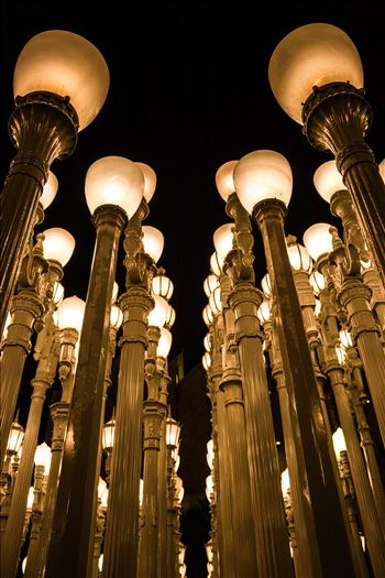 "Up close shot of Chris Burden's ""Urban Light"" at the Los Angeles County Museum of Art."